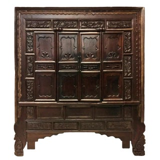 19th Century Asian Antique Monumental Carved Cabinet For Sale