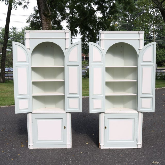 Custom Arch Panel Corner Cabinets - A Pair - Image 3 of 11