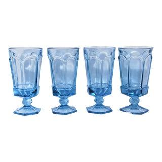 Vintage Sky Blue Depression Glass Water Glasses - Set of 4