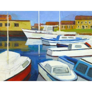 Vintage French Boat and Marina Landscape Painting For Sale