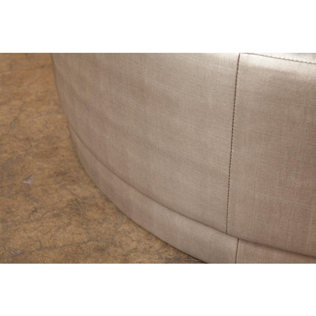 Metallic Silver Round Ottomans - A Pair For Sale - Image 4 of 5