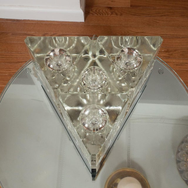 Fidenza Vetraria 1960s Triangular Glass Table Lamp For Sale - Image 4 of 5