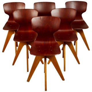 Mid-Century German School Chairs - Set of 6 For Sale