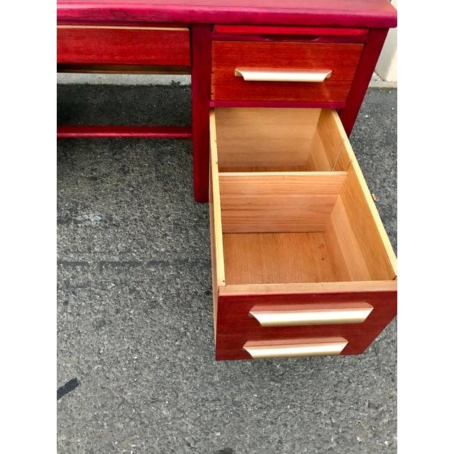 1950s Refinished 'Painted Lady' Pontoon Base Executive Desk For Sale - Image 9 of 13