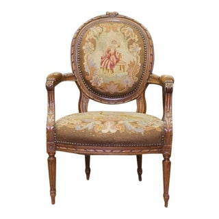 Antique French Needlework with Petit Point Arm Chair For Sale