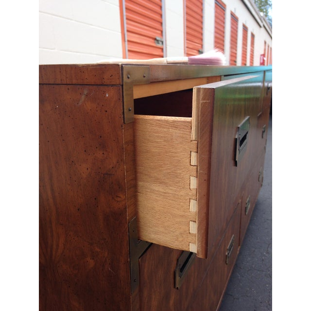 Dixie 20th Century Campaign Dixie 7-Drawer Lowboy Dresser For Sale - Image 4 of 9