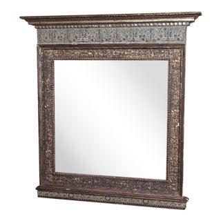 Vintage Italian Silver Gilt Mirror For Sale