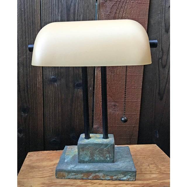 Antique Style Banker's Desk Lamp With Slate Base - Image 2 of 6