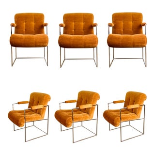 1970s Milo Baughman for Thayer Coggin Chrome Dining Chairs– a Set of 6 For Sale