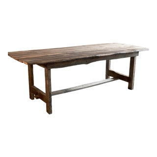 Custom French Farmhouse Dining Table of Reclaimed Barn Wood. For Sale