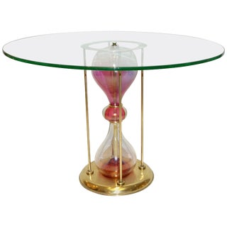 Seguso Vetri D'Arte 1960s Italian Brass and Pink Glass Round Side / End Table For Sale