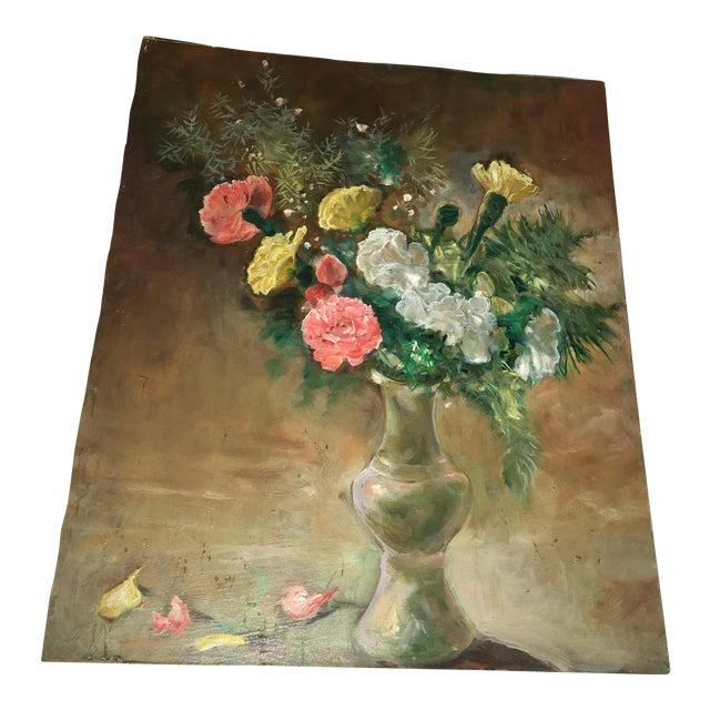 Flower Vase Oil Painting on Board For Sale