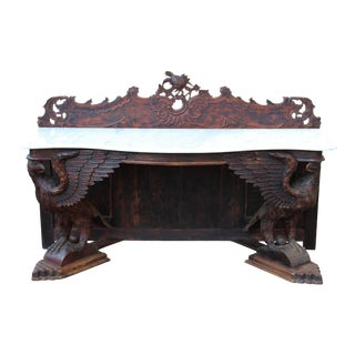 Victorian Carved Wood Marble Top Console Table on Dual Carved Eagle Supports For Sale