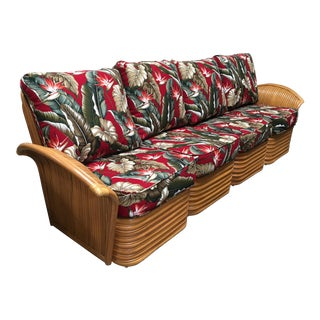 """Art Deco Style """"Hawaii"""" Rattan Fan Arm Four-Seat Sectional Sofa For Sale"""