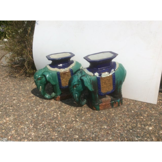 Great looking early 20th Century Chinese Ceramic Elephant Garden Stools With minor damage to the underside and edge of one...