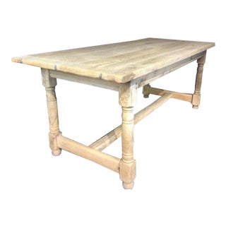 1880s Antique French Farmhouse Oak Trestle Dining Table For Sale