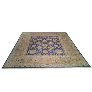 "10' X 10'6"" Traditional Rug Hand Knotted in Fine Wool in Blue and Gold - Size Cat. 10 Ft. Square 10x10 For Sale"