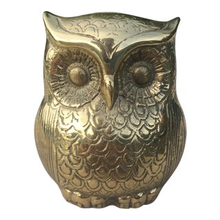 Vintage Bohemian Solid Cast Brass Owl Coin Bank