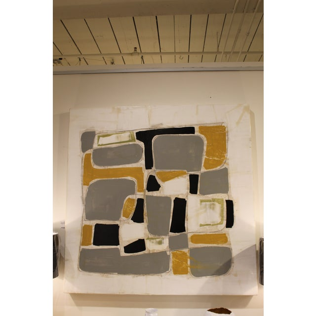 Abstract Abstract Plaster and Acrylic Painting on Wood by Scott Kerr For Sale - Image 3 of 3