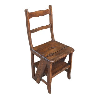 Antique Library Ladder Chair For Sale
