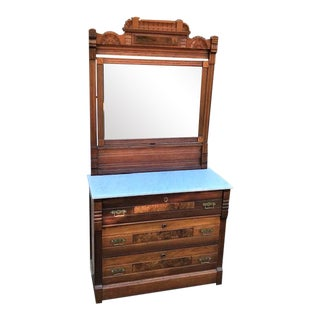 Antique Eastlake Victorian Marble Top Walnut and Burl Walnut Dresser With Mirror For Sale