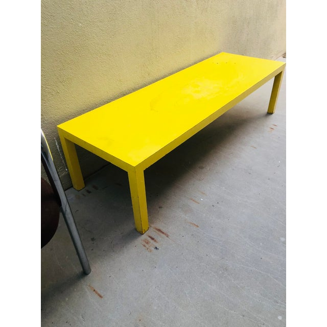 Milo Baughman for Thayer Coggin 1980s Yellow Parsons Coffee Table in the Manner of Thayer Coggin For Sale - Image 4 of 4