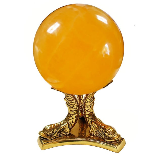 Calcite Crystal Ball on Koi Fish Stand - Image 1 of 5