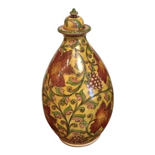 Large Italian Faience Ceramic Lidded Jar For Sale
