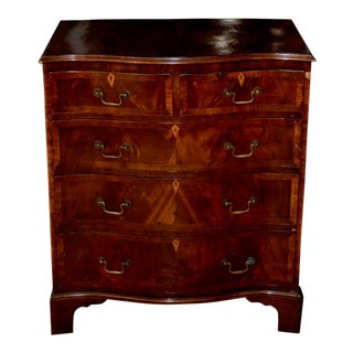 19th Century Federal Chest of Drawers W/ Serpentine Front and Inlay For Sale