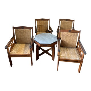 Teak Rattan Table & Chairs - Set of 5 For Sale