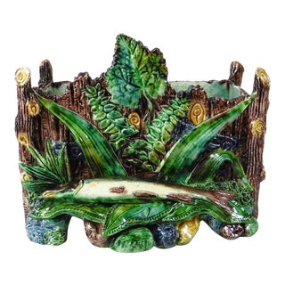 19th Century School of Paris Majolica Palissy Fish Jardinière For Sale