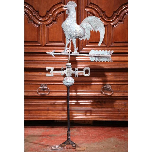 French Tole Rooster Weathervane For Sale - Image 4 of 7