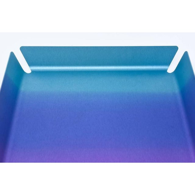 Blue Limited Edition Art Basel Anodized Aluminum Serving/Bar Tray For Sale - Image 8 of 9