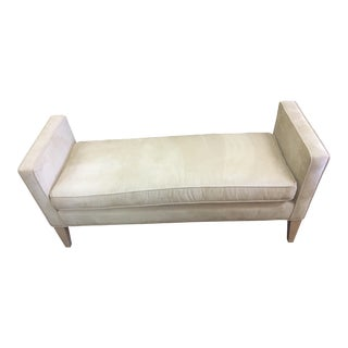 Mid Century Modern Mitchell Gold Suede Bench For Sale