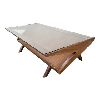Mid-Century Brown Saltman Style Z Magazine Coffee Table For Sale