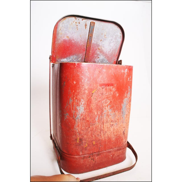 Vintage Industrial Red Metal Trash Can with Flip Top Lid For Sale - Image 10 of 11