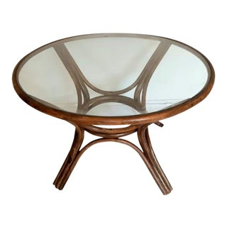 Vintage Rattan Round Glass Top Dining Table For Sale