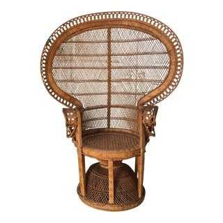 Vintage Emmanuel Wicker Peacock Chair For Sale