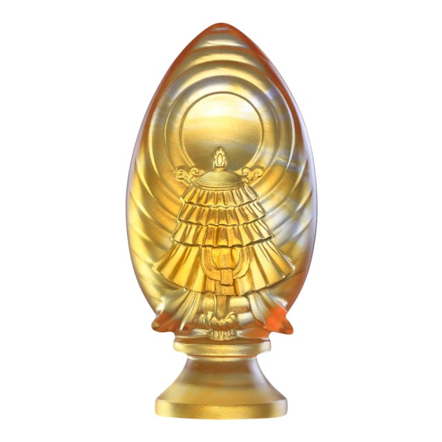Crystal Limited Edition Feng Shui Victory Banner-Auspices Far and Wide, Eight Auspicious Offerings, Light Amber For Sale