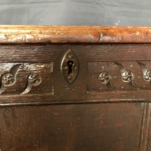 Rustic Antique 18th Century Paneled and Carved Scottish Coffer Chest For Sale - Image 3 of 13