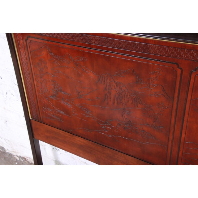 Asian Drexel Heritage Mahogany and Brass Hollywood Regency Chinoiserie Queen Size Headboard For Sale - Image 3 of 8