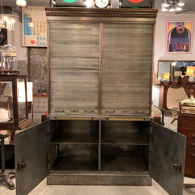 Metal Antique Steel and Brass Roll Top Valuables Safe Display Cabinet For Sale - Image 7 of 13