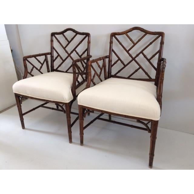 1980s 1980s Vintage Faux Bamboo Arm Chairs- A Pair For Sale - Image 5 of 13