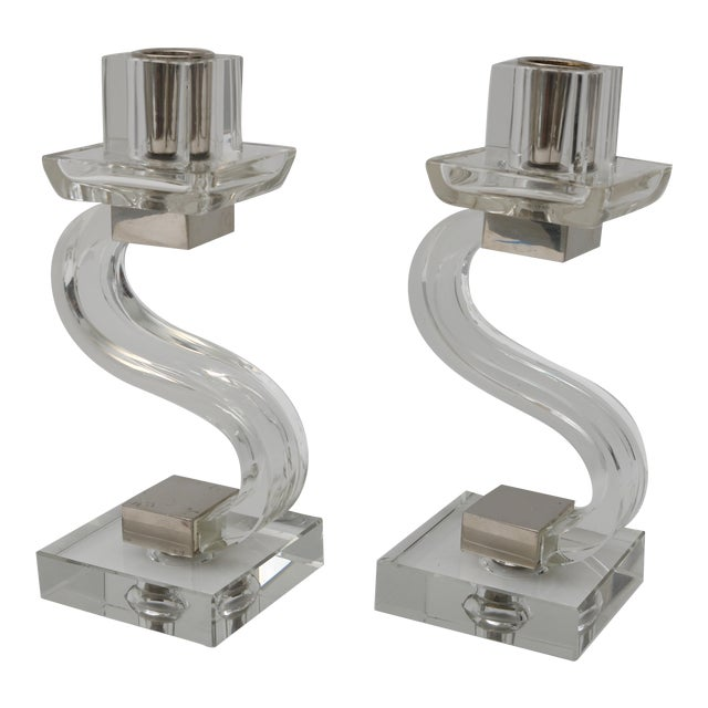 Polished Chrome Trim Candle Holders - A Pair - Image 1 of 9