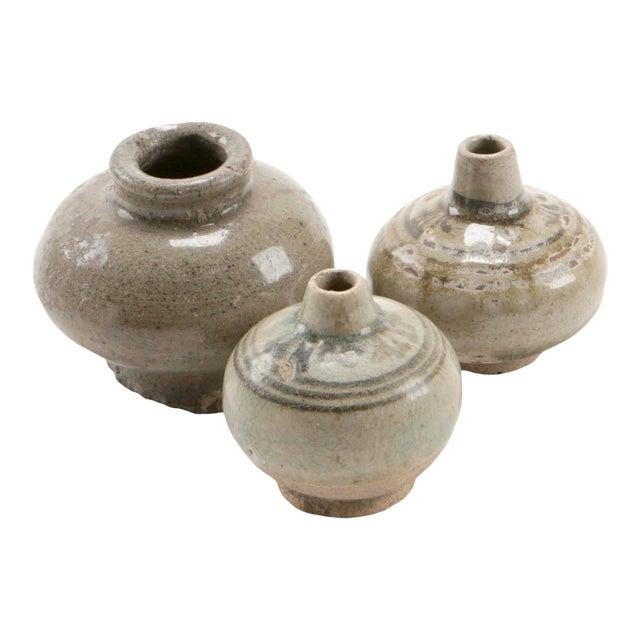 Antique Thai Stoneware Vases - Set of 3 For Sale