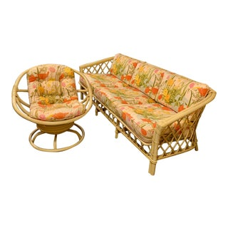 Mid 20th Century Ficks Reed Sunroom Sofa and Swivel Rocking Chair Set For Sale