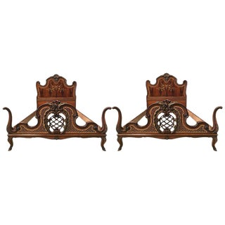 1930s Venetian Baroque Pair Twin XL Marquetry and Carved Walnut For Sale
