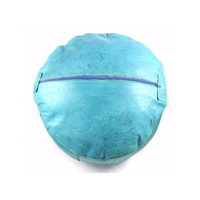 2000s Turquoise Moroccan Leather Pouffe Ottoman For Sale - Image 5 of 5