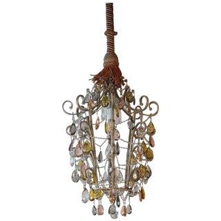 "1920s Vintage Venetian ""Cinese"" Crystal Lantern Chandelier For Sale"