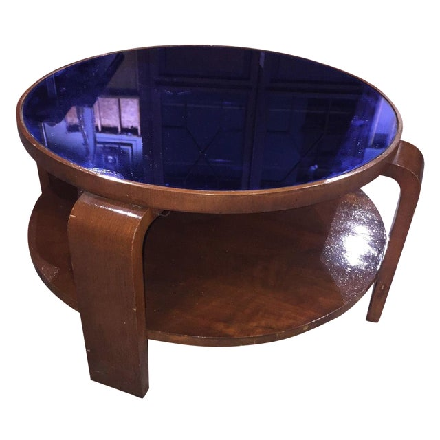 Mid-Century Modern Blue Glass Coffee Table For Sale